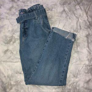 Garage Paper Bag Waist Belted Cropped Jeans